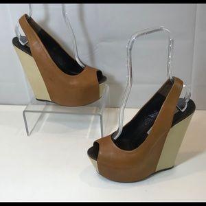 Gianmarco Lorenzi Open Toe High Wedge Sandal Heel